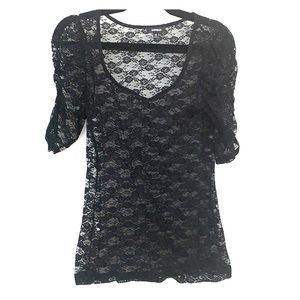 Express black lace 3/4 sleeve top